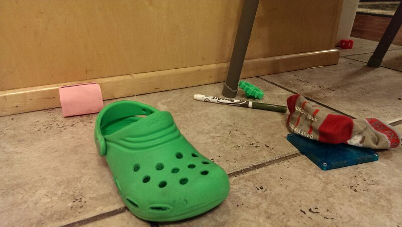 Emergency day end meeting with Croc, sock, marker and friends...they've been warned; what goes on in this house, stays in this house.