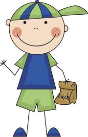 Smiling boy with lunch clipart